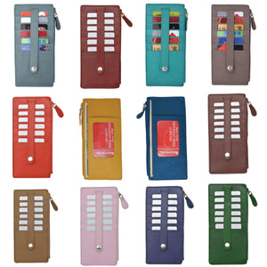 Wholesale Leather Thin Vertical Stacker Card Case Wallet with ID Window Multiple Colors