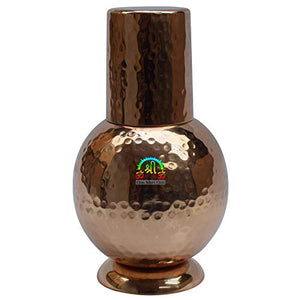 Indian Pure Copper Bedroom Bottle Drinkware with Inbuilt Glass Cup Hammered Finish