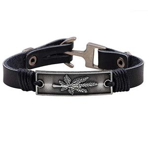 Maple Leaf Leather Bracelet Wristband Jewelry Cuff for Men Women Fall Black Brown