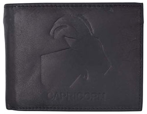 Capricorn Zodiac Sign Bifold Trifold Genuine Leather Men's Wallets