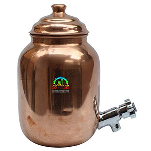 Beautiful Hammered Copper Water Dispenser Container Pot Matka Storage Water 68OZ