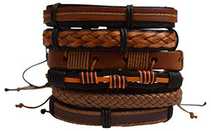 Marshal 6 PCS Leather Brown Bracelets Set Leather Braided Multiple Adjustable Strand Cuff wrap