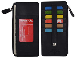 Leather All in One Card Case Holder Slim Wallet With a Card Protection Strap by Marshal
