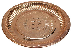 Handmade Pure Copper Puja Thali with Om Symbol Engraved 8.75 inches Copper Pooja Solid Embossed Plate
