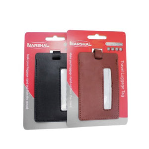 2 Leather Travel Luggage Tag By Marshal (Brown) - menswallet
