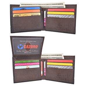 Cazoro Men's Genuine Leather RFID Blocking Bifold Extra Capacity Top Flip ID Wallet Brown
