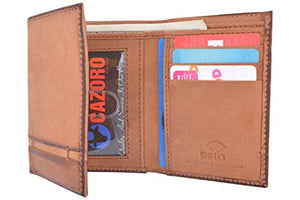 Cazoro Genuine Leather Mens RFID Blocking Slim Trifold Wallet 8 Cards 1 ID Window 2 Bill Pockets