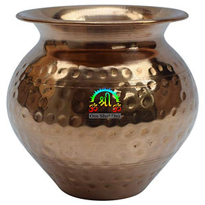 Indian Copper Large Kalash Lota Handmade Drinkware for Festival Puja