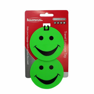 Set of 2 Green Smiley luggage Tag for Travel By Marshal - wallets for men's at mens wallet