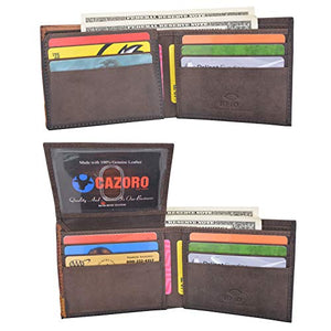 Cazoro RFID Blocking Bifold Wallet Passcase Genuine Leather and Flip Up ID Mens Wallets
