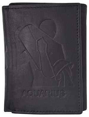 Aquarius Zodiac Sign Bifold Trifold Genuine Leather Men's Wallets