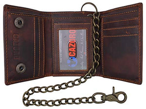 RFID Blocking Men's Tri-fold Vintage Leather Biker Chain Wallet With Snap Closure