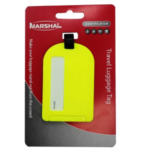 2-Neon shiny Yellow Sliding Luggage Tag By Marshal - menswallet