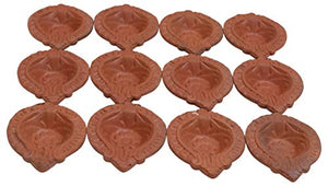 12 Pack of Traditional/Indian Hand Crafted with Earthen Clay Oil Lamps/Diyas/Deepak for Gifts/Decorations/Festivals/Temples