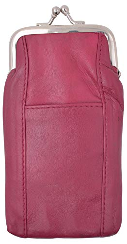 Genuine Leather Cigarette Case with Lighter Pouch Hot Pink by Marshal