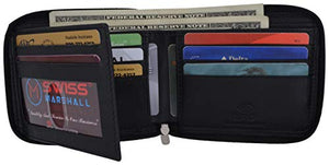 Genuine Cowhide Leather Mens Zipper Zip-Around Bifold Popular Card Holder Wallet