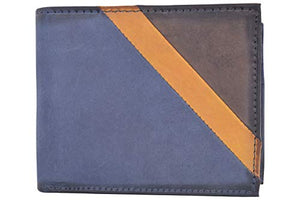 Cazoro Front Pocket Wallet for Men RFID Blocking Leather Bifold ID Window Navy Blue Wallet