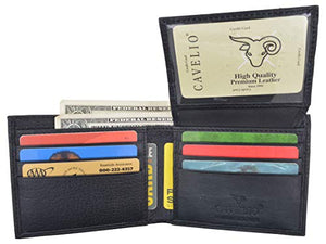 Cavelio Mens Premium Leather Slim Flap Up Card Id Holder Bifold Wallet - wallets for men's at mens wallet