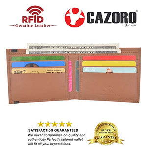 Cazoro Men's Slimfold RFID Safe Slim Bifold Wallet Smooth Leather Front Pocket Tan