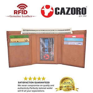 Cazoro Slim RFID Wallets for Men Genuine Leather Front Pocket Trifold Wallet