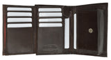 European Style Bifold Trifold Genuine Leather Wallet with ID Window 518 CF (C)
