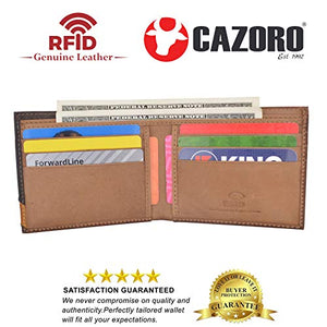 Cazoro Men's Slim Pocket Hunter Leather Bifold Travel Credit Card thin Wallet RFID Safe