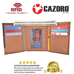 Cazoro Men's Wallet RFID Genuine Leather Slim Trifold with ID Window and Card Slots Light Brown