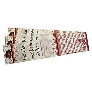 GOLOKA Saffron Agarbatti Pack of 3 Incense Sticks Boxes, 15 GMS Each, Traditionally Handrolled in India
