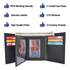 Cazoro Extra Capacity Trifold Wallet for Men RFID Blocking Genuine Leather Wallet Black Brown