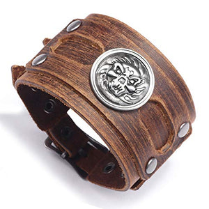 Brown Genuine Leather Handmade Wide Size Bracelet with Skull Head Charms Snap Button Clasp New Men's Bangle Jewelry Bracelet