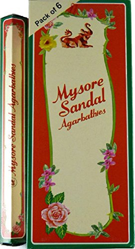 Mysore Sandal Incense - Six 20 Stick Tubes, 120 Sticks Total - From India
