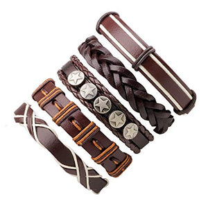 Marshal 5 PCS Brown Leather Bracelets Set for Women Men Braided Wooden Beads Wrap Cuff Cord Adjustable - wallets for men's at mens wallet