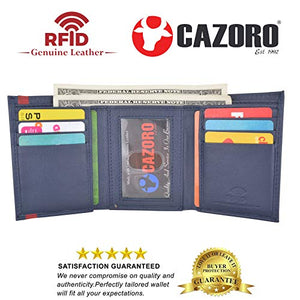 Men's Soft Premium Leather RFID Trifold Wallet Sleek & Slim ID Window Credit Card Holder Navy Blue