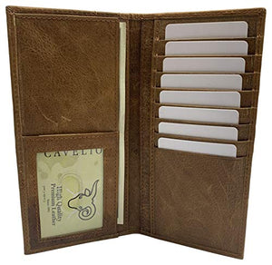 Genuine Leather Long Bifold Checkbook Cover Wallet Multi Card Pocket Holder USA Series