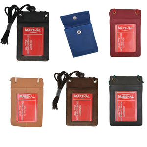 Wholesale Leather Neck ID Badge Credit Card Holder Pouch Wallet Assorted Colors - wallets for men's at mens wallet