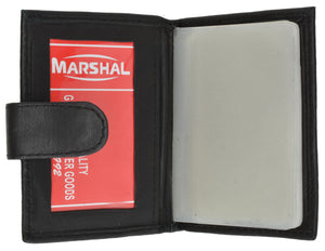Marshal Leather Plastic Inserts Book Credit Card ID Holder Snap Wallet Black