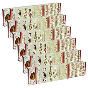 GOLOKA Saffron Agarbatti Pack of 6 Incense Sticks Boxes, 15 GMS Each, Traditionally Handrolled in India