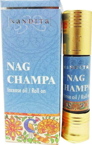 Nag Champa - Nandita Incense Oil/Roll On - 1/4 Ounce Bottle - wallets for men's at mens wallet