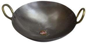 11 INCH INDIAN PURE IRON LOHA KADHAI DEEP FRYING PAN KADHAI FOR FRYING, COOKING