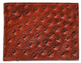 Ostrich Print Cowhide Leather Bifold Wallet with Flip ID window & Credit Card Slots 71053 OS (C)