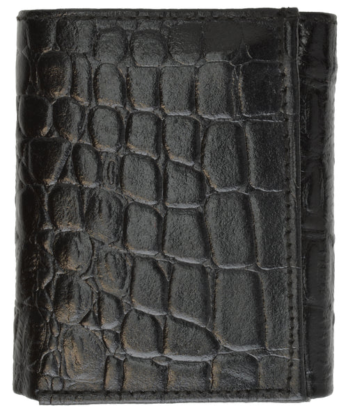Alligator Print Cowhide Leather Trifold Wallet with ID Window & Credit Card Slots 71107 CR (C)
