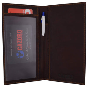 Cazoro Premium Vintage Leather RFID Bifold Checkbook Cover Holder New - menswallet