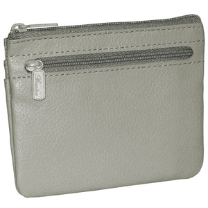 Buxton Genuine Leather Coin & Card Case Zip Wallet (Grey) - menswallet