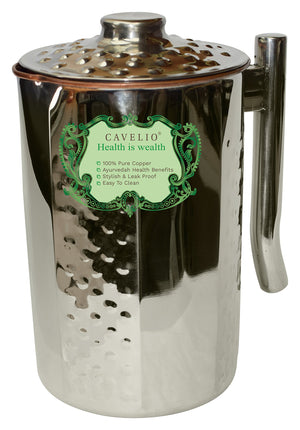 Cavelio 100% Outside Stainless Steel Inside Pure Copper Handcrafted Emboss Pitcher