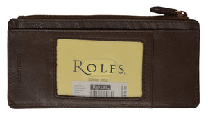 Rolfs Slim Money Organizer Id Card Credit Card Holder Wallet (Brown)