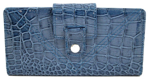 Mundi Blue Patent Croco Tab Clutch Wallet w/ RFID Blocking Safe Keeper - wallets for men's at mens wallet