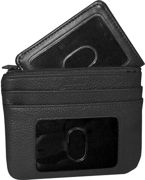 Buxton Womens Leather Id Coin Card Case Wallet (Black-RFID Protected) - menswallet