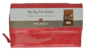 Mundi My Big Fat Wallet Organizer and Checkbook Cover (Pink Glossy) - wallets for men's at mens wallet
