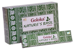 Goloka Nature's Basil nature series collection high end incense sticks- 6 boxes of 15 gms (Total 90 gms)