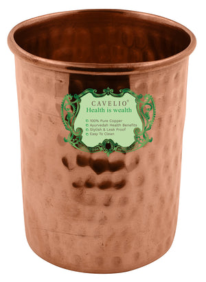 Cavelio Handmade Pure Desigh Copper Glass Cup for Drinking Water